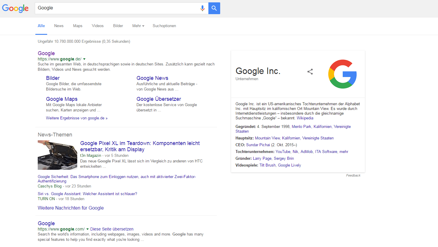 """Beispiel für eine moderne Suchergebnisseite zum Suchwort """"Google"""""""