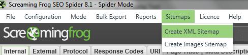 Screenshot des Hauptmenüs des Screaming Frogs zur Erstellung der Sitemap XML