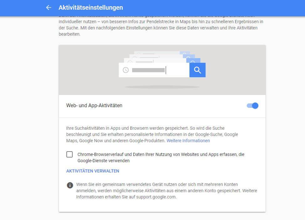 Datenverwaltung im Bereich Activitycontrol bei Google