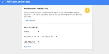 Auswahlmöglichkeiten zum Löschen der eigenen Such- und Download-Daten bei Google