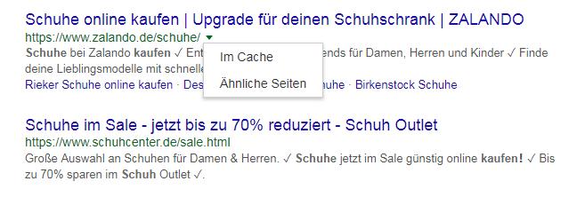 Google Cache Seite in den SERPs