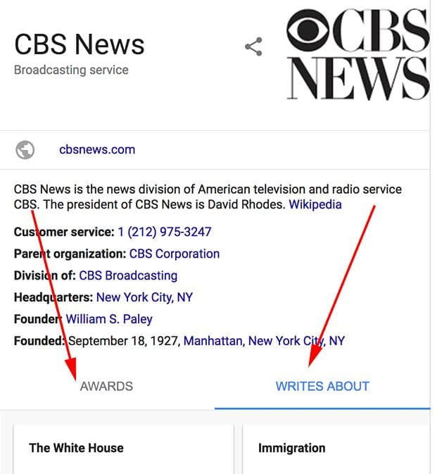 Google Publisher Knowledge Graph Panel: Awards und Writes About