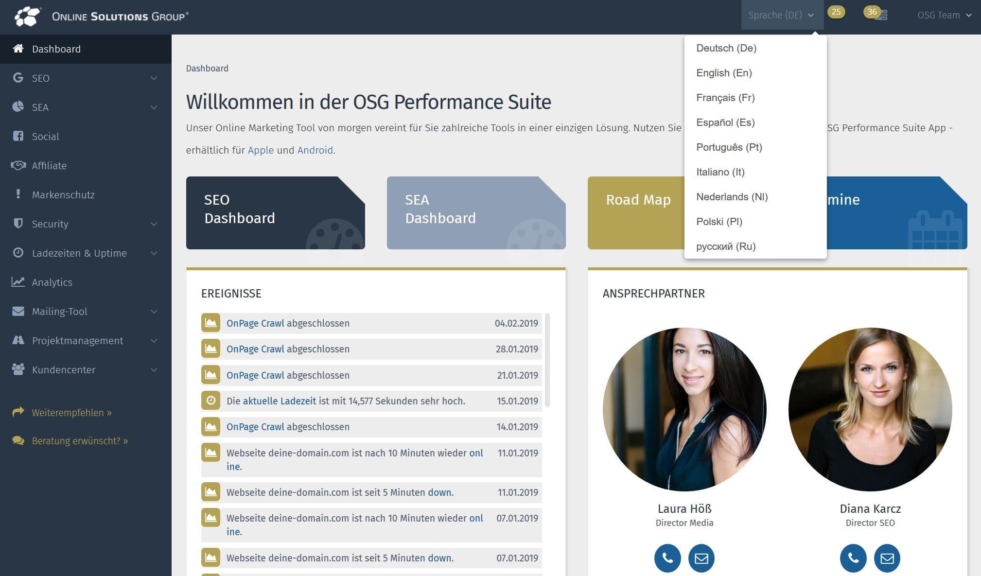 Nutzen Sie die Performance Suite in bis zu neun verschiedenen Sprachen!