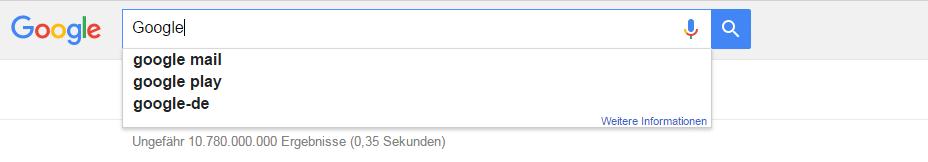 Google Suggest schlägt passende Keyword-Phrasen vor.