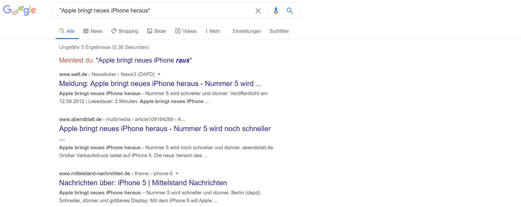 Google Suche Duplicate Cotent Beispiel (SEO Checkliste)