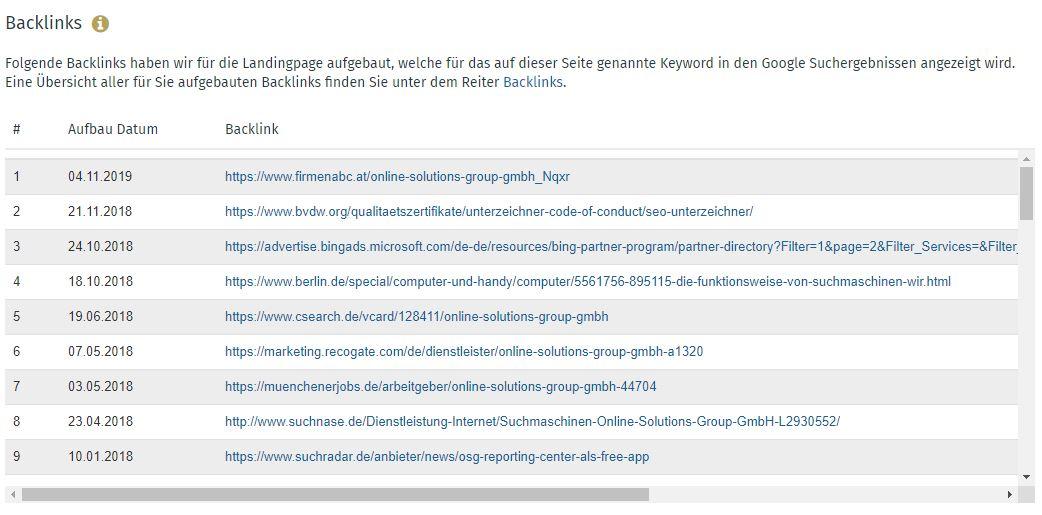 Zudem können Sie sehen, für welches Keyword bereits Backlinks aufgebaut wurden.