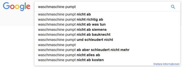 Beispiel: Themenrecherche Keywords SEO Content über google Suche