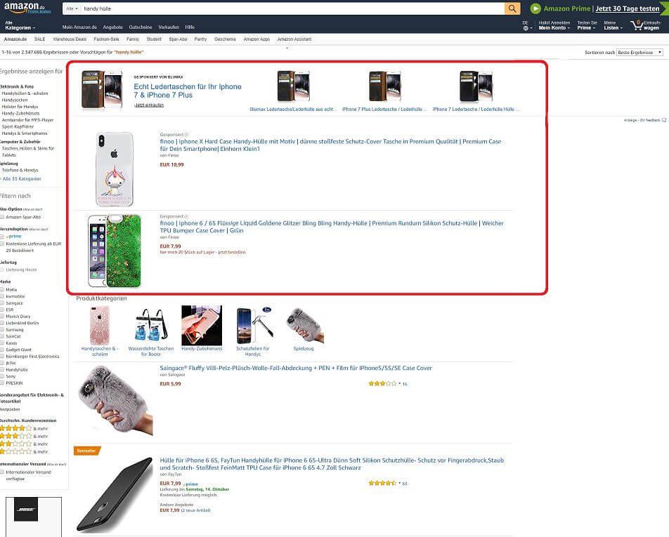 Amazon Beispiel zu sponsored products über organische Suchergebnisse