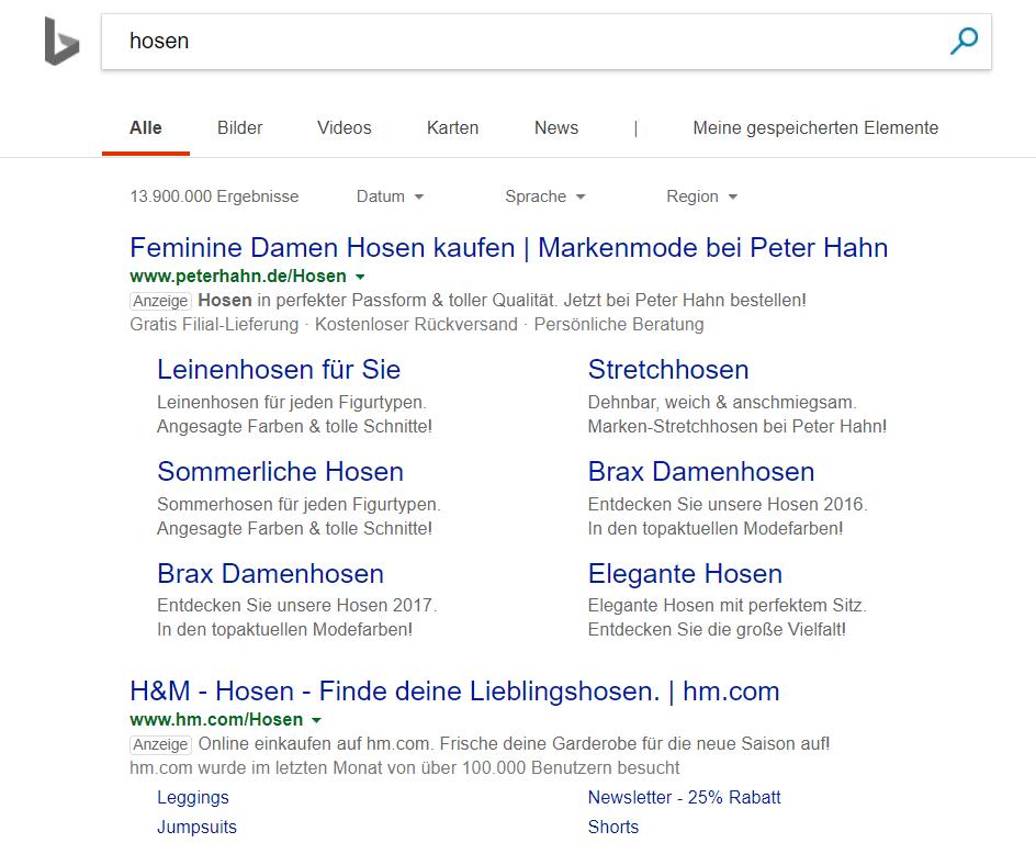 Bing Kennzeichnung von Werbeanzeigen