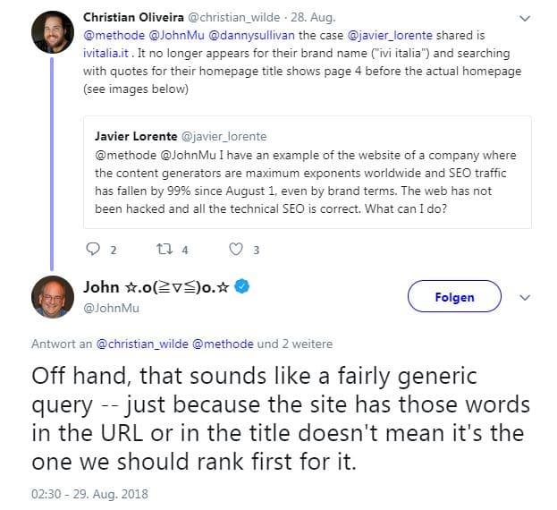 John Müller erklärt warum Brand Keywords nicht automatisch auf Platz eins ranken, wenn diese generisch sind