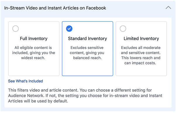 Screenshot der Optionen für den Inventory Filter auf Facebook