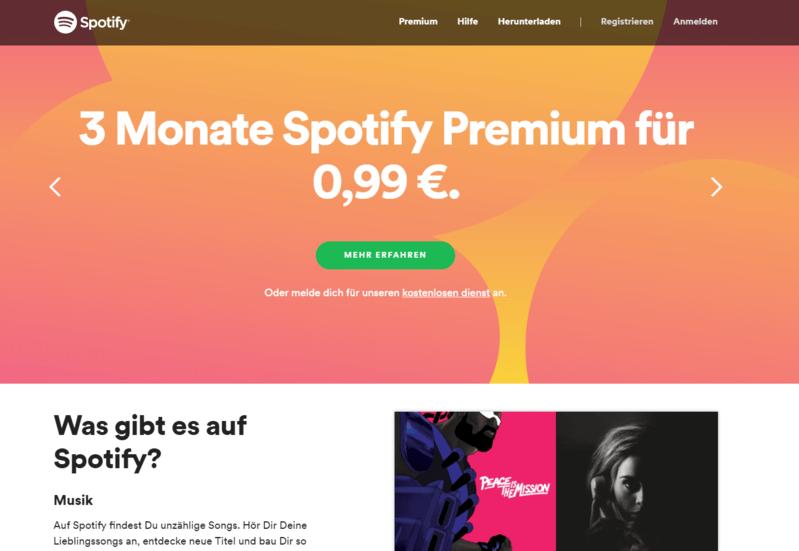 Ein gutes CTA-Beispiel: Die Spotify Website
