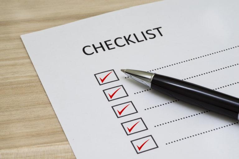 Checkliste abgeharkt
