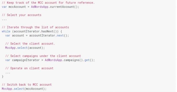 Screenshot Google Beispielscript Adwords Script
