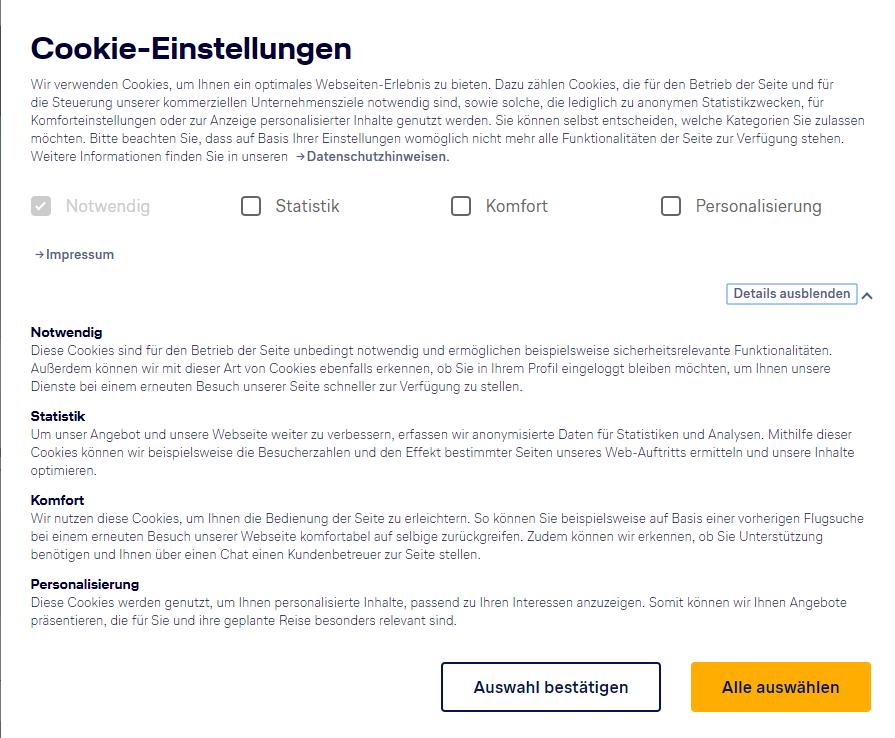 Cookie Banner Lufthansa