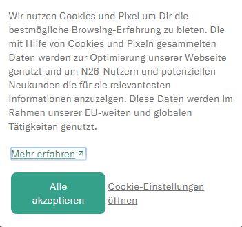 Cookie Banner N26