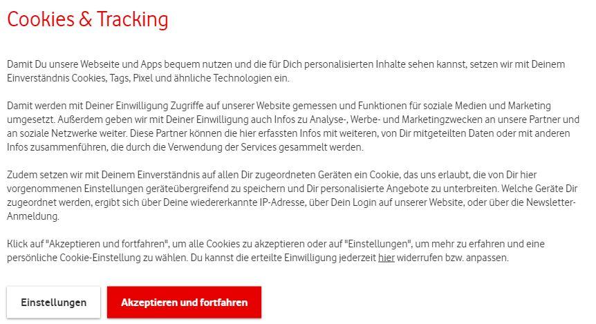 Cookie Banner Vodafone