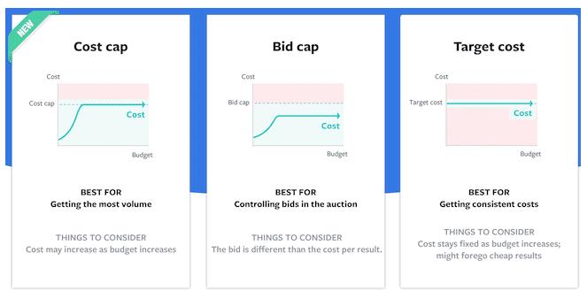 Screenshot der verschiedenen Facebook Gebotsstrategie