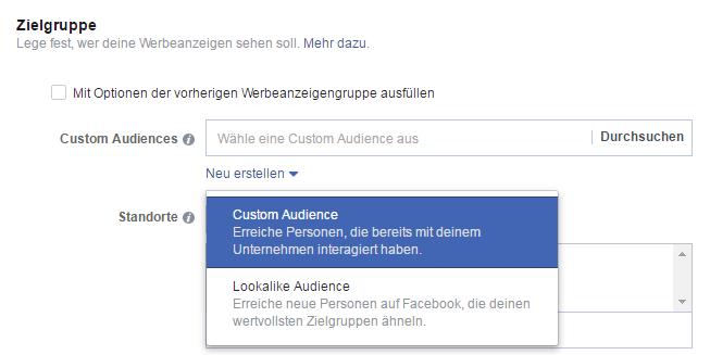 Auswahl zwischen Custom Audience und Lookalike Audience bei Facebook Werbeanzeigen