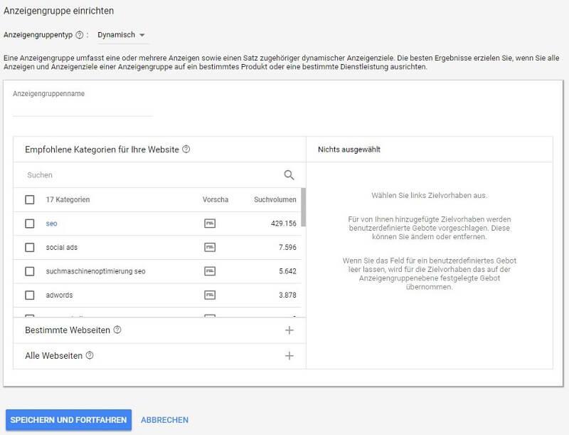 Screenshot von den Auswahlmöglichkeiten bei der Erstellung der Anzeigengruppe in einer DSA-Kampagne