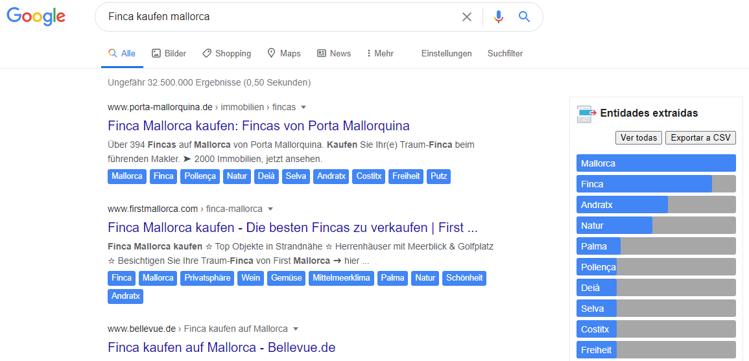 Dandelion in der Google Suche