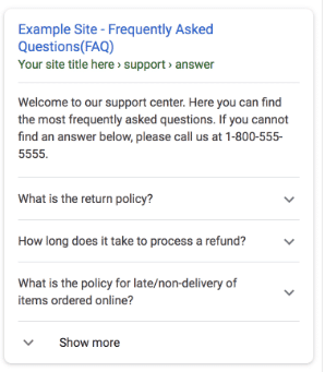 Google FAQ Rich Snippet