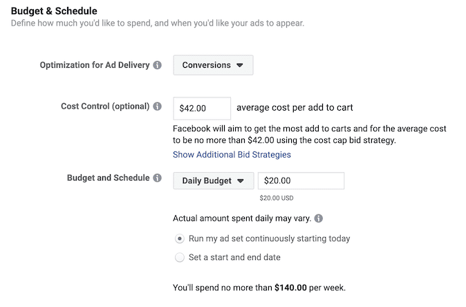 Screenshot der neuen Facebook Gebotsstrategie cost cap