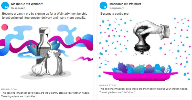 Facebook Werbebibliothek Walmart
