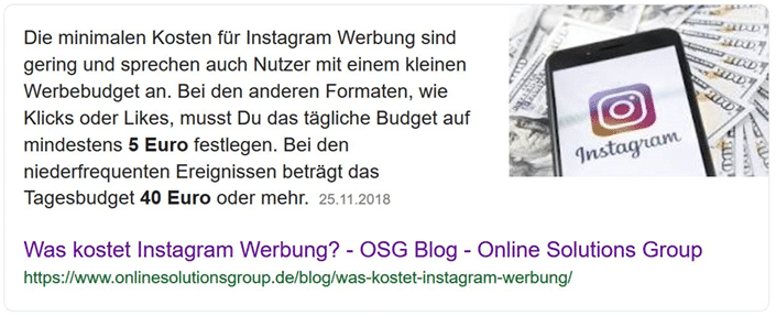 Featured Snippet in den Google SERPs