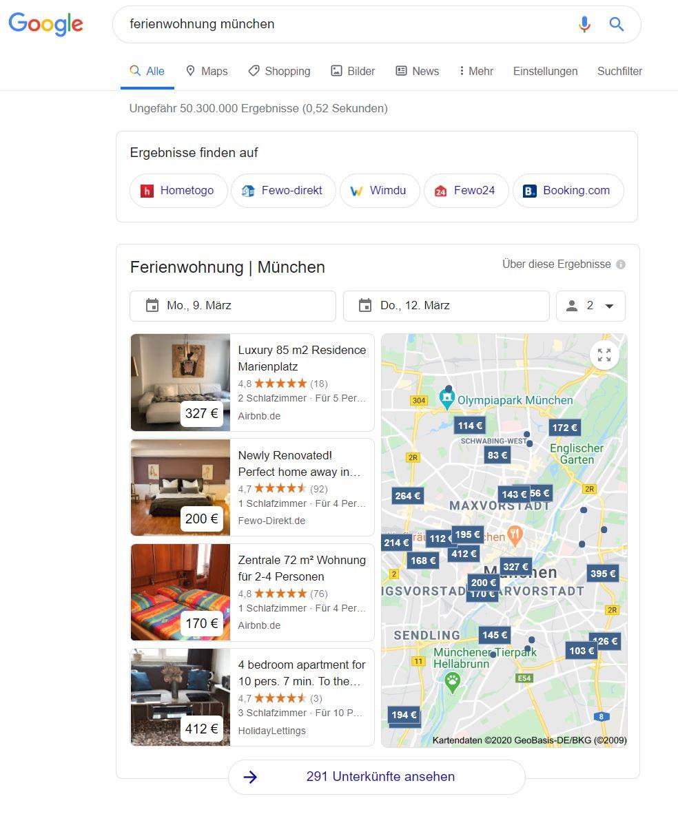 Darstellung von Suchergebnissen in Google