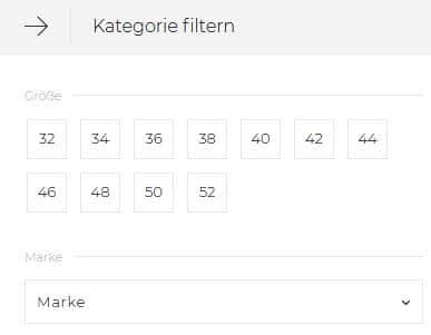 Filterfunktion nach Größe bei Canonical beispiel aboutyou.de