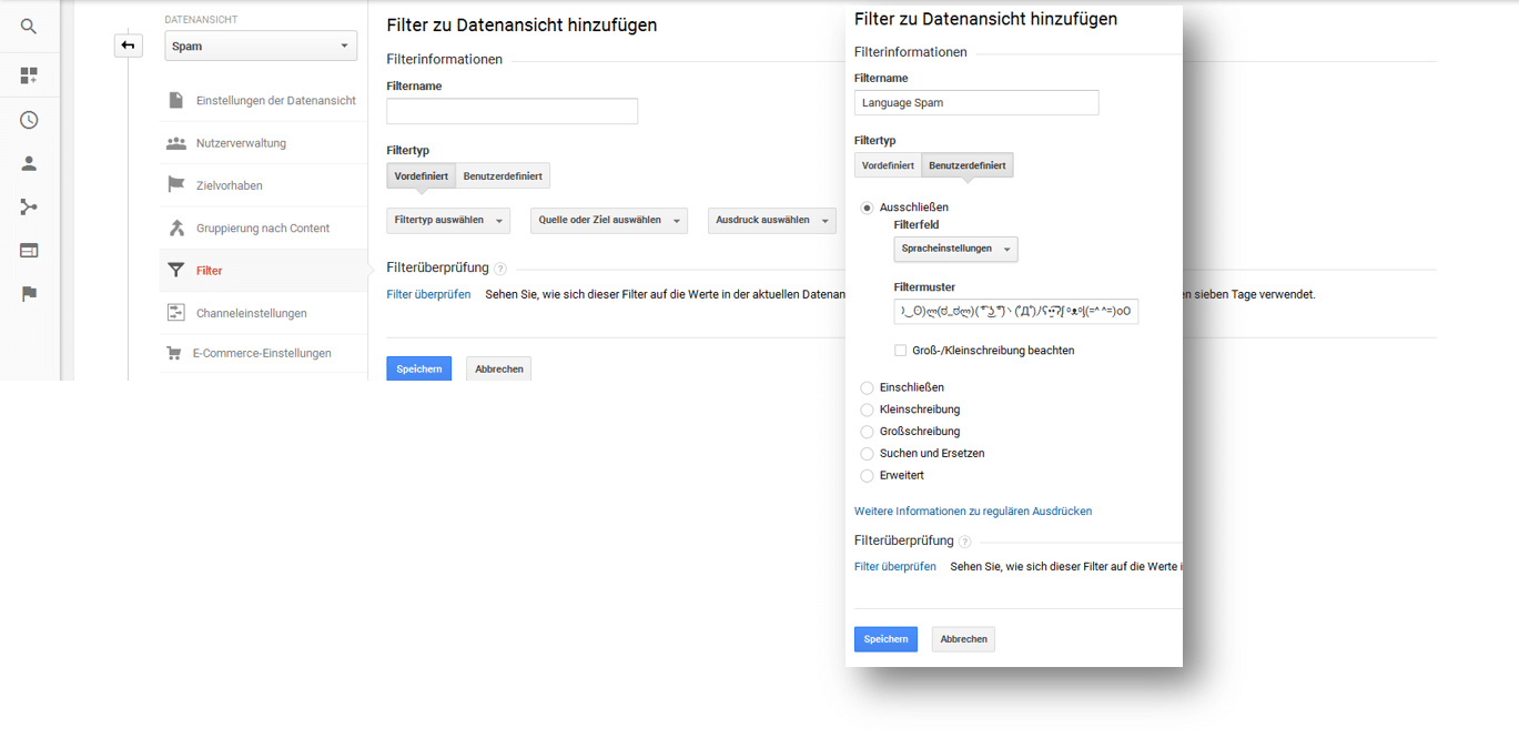 Anlegen von Filtern in Google Analytics