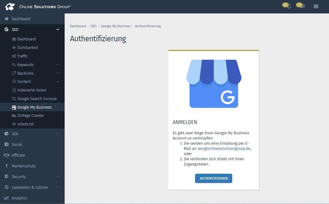 Sie können Ihren Google My Business Account ganz einfach mit der Performance Suite verknüpfen.