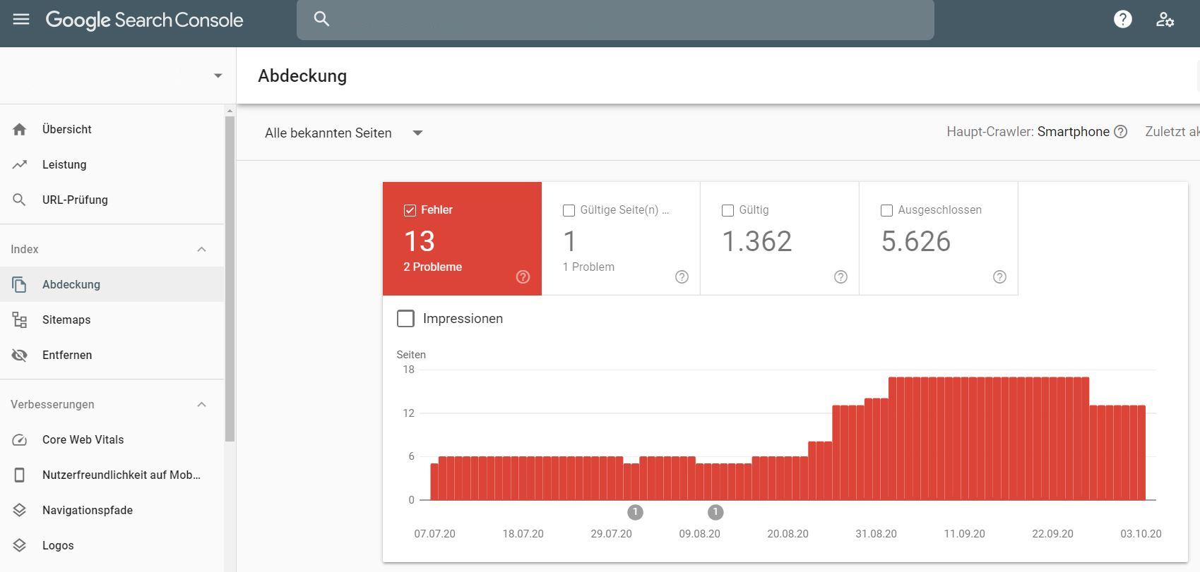Google Search Console Screenshot Crawling Fehler (SEO Checkliste)