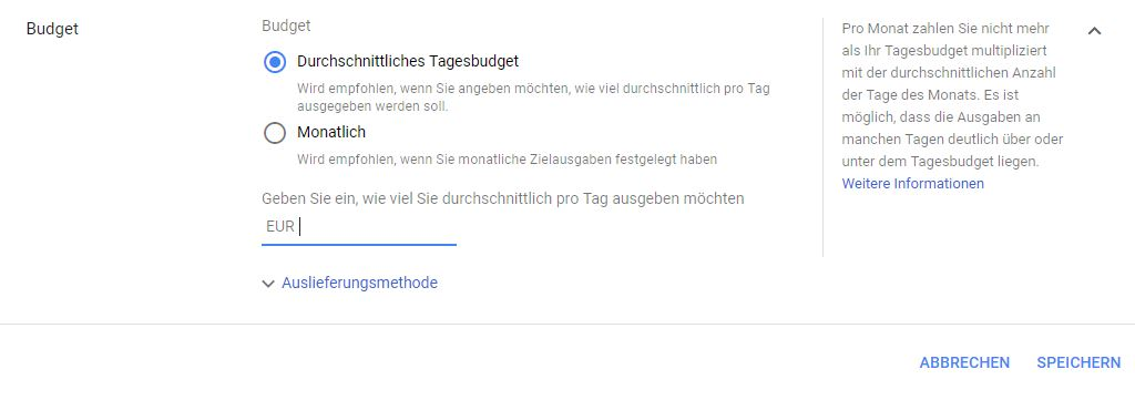 Google Ads Monatbudget