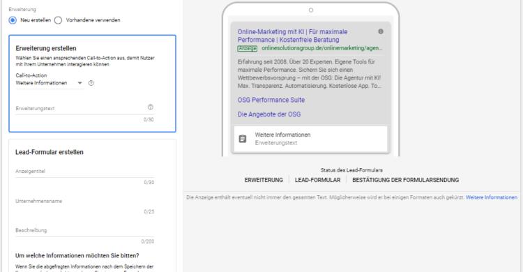 Google Ads Lead-Formularerweiterung