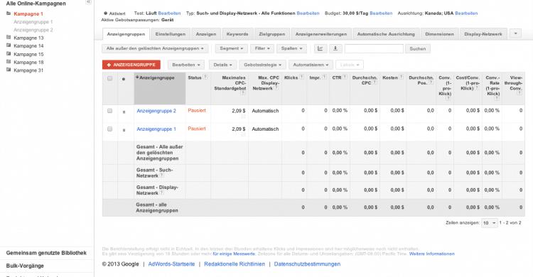Google Adwords Anzeigengruppen erstellen