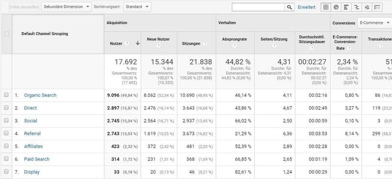 Der Unterbericht Channels liefert Zahlen über welche Kanäle die Nutzer die Webseite aufrufen. Die Gruppierung kann auch über die Einstellungen angepasst werden.