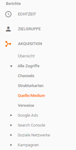 Google Analytics mit Facebook Quelle Medium