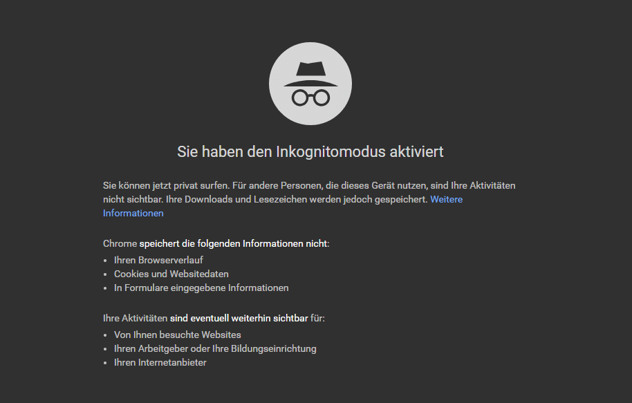 Google Inkognito Modus Screenshot