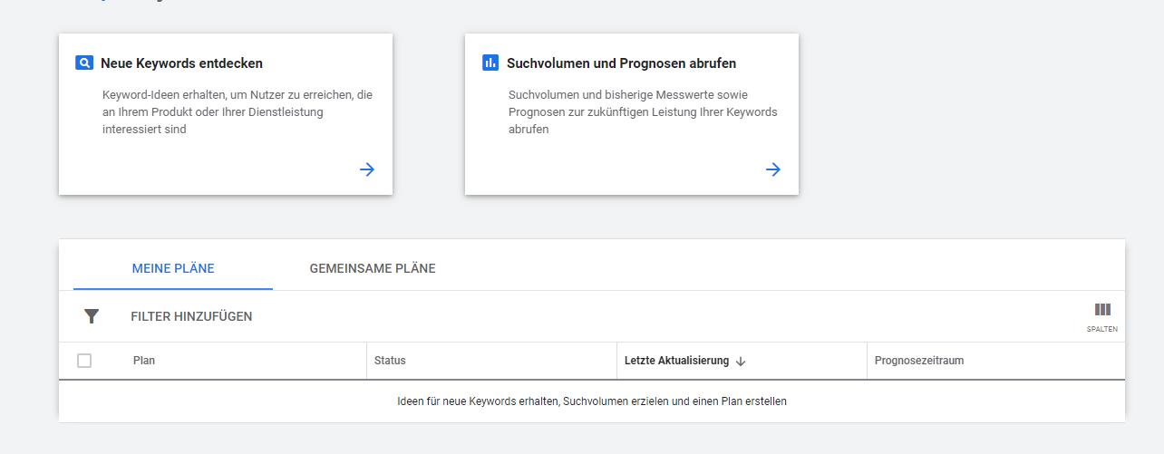 Google Keyword Planner SEO Suchmaschinenoptimierung