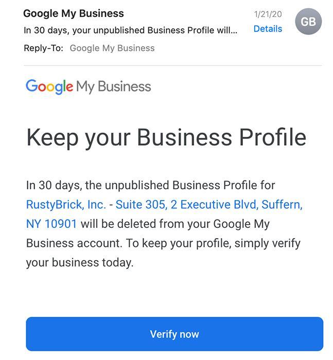 Google My Business E-Mail Beispiel