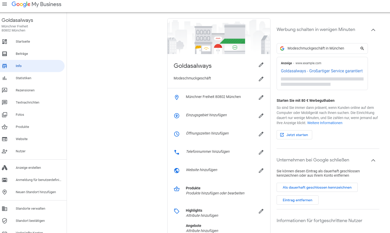 Google My Business Informationen Profil