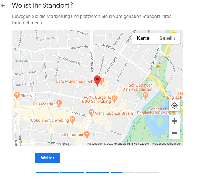 Google My Business Karte Standort