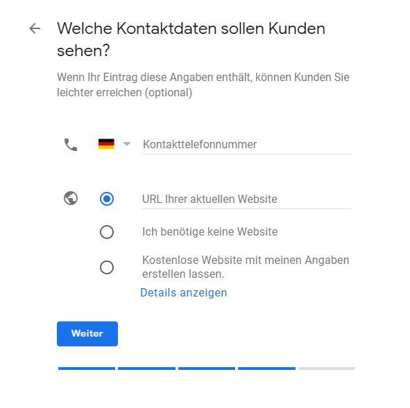 Google My Business Kontaktinformationen