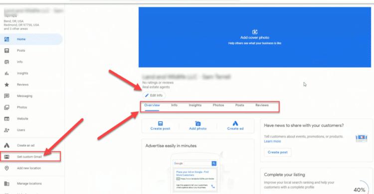 Google My Business Layout