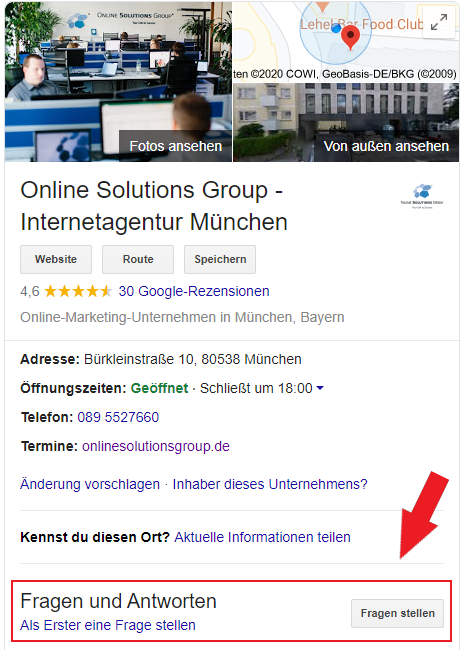 Google My Business Profil Fragen und Antworten