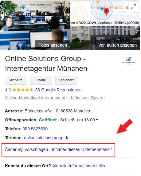 Google My Business Profil Veränderungen vorschlagen