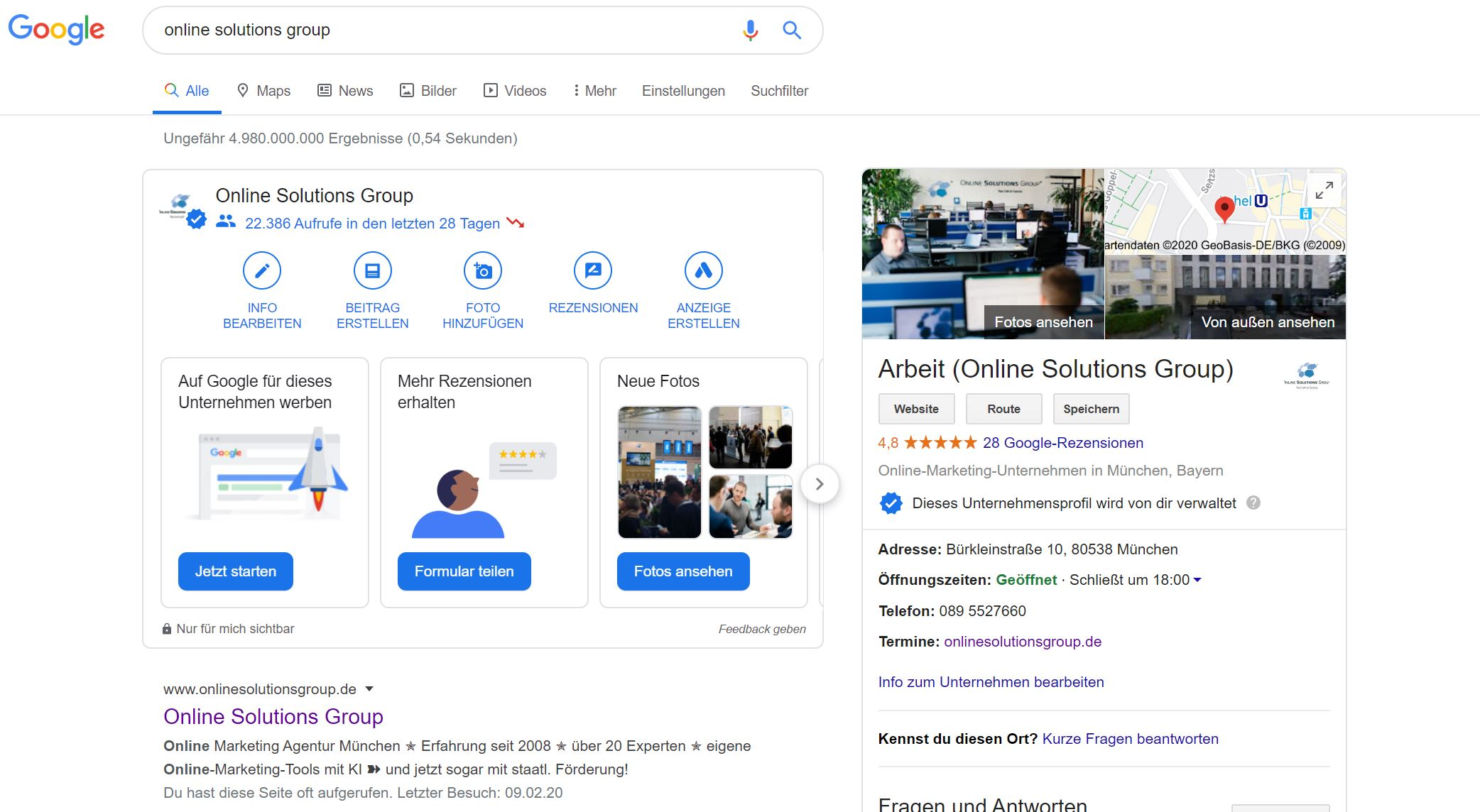 Google My Business bei Google Suche