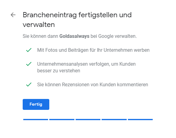 Google My Business fertig stellen